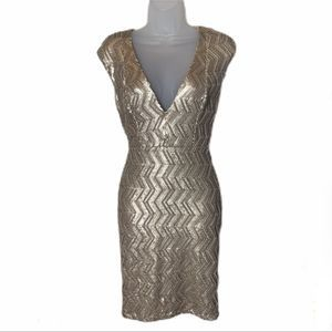 Abyss by Abby Gold Sequin Dress Size Medium